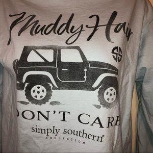 3/$25 Simply Southern Muddy Hair Don't Care TShirt
